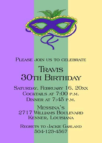 MARDI GRAS MASK WITH LARGE COLOR BANDS CUSTOM INVITATION