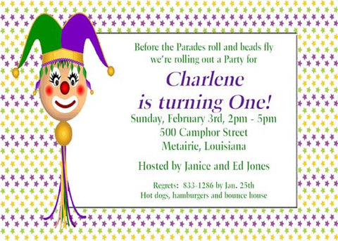 JESTER ON A STICK CUSTOM INVITATION