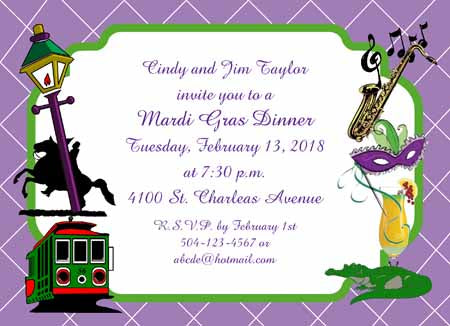 NEW ORLEANS AND MG ICONS CUSTOM INVITATION