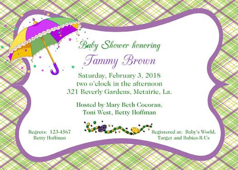 MARDI GRAS UMBRELLA AND PLAID CUSTOM INVITATION