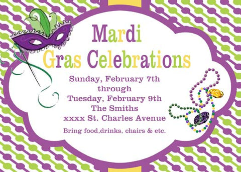 BEADS, MASK AND STRING OF CIRCLES CUSTOM INVITATION