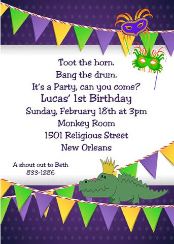 ALLIGATOR AND MARDI GRAS BANNER FLAGS CUSTOM INVITATION