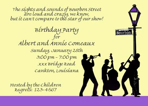 JAZZ BAND SILHOUETTE CUSTOM INVITATION