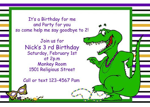 ALLIGATOR DANCING CUSTOM INVITATION