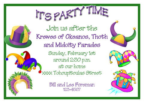 MARDI GRAS ASSORTED HATS CUSTOM INVITATION
