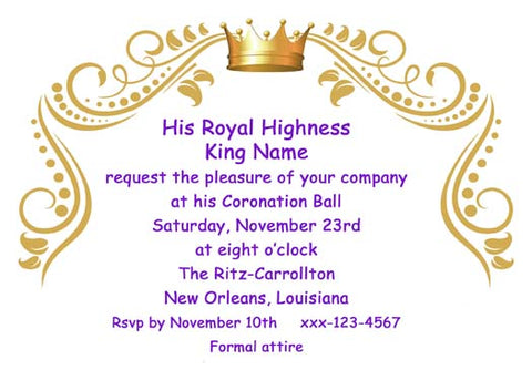 SWIRLS AND CROWN CUSTOM INVITATION