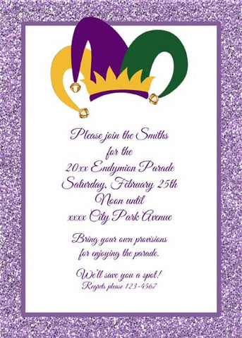 LARGE JESTER HAT AND GLITTER CUSTOM INVITATION