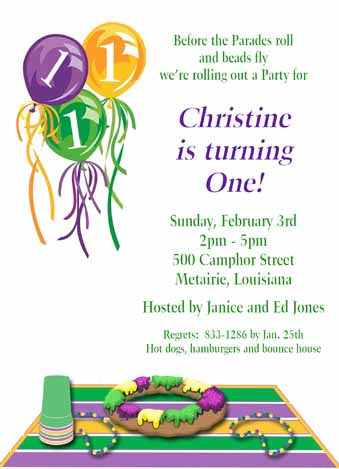 BALLOONS AND KING CAKE CUSTOM INVITATION