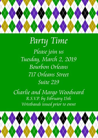 MARDI GRAS DIAMOND BACKGROUND CUSTOM INVITATION