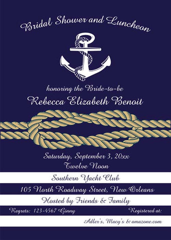 NAUTICAL ANCHOR AND ROPE CUSTOM INVITATION