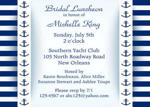 NAUTICAL BANDS ANCHORS AND STRIPES CUSTOM INVITATION