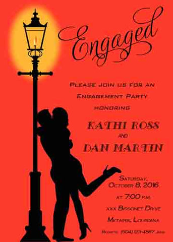 COUPLE KISSING NEAR LAMPPOST CUSTOM INVITATION