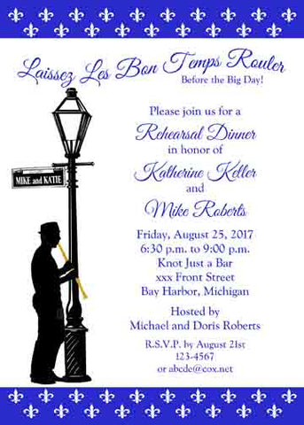 CLARINET PLAYER AND LAMPPOST CUSTOM INVITATION