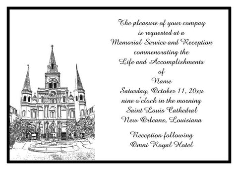 SKETCH OF ST. LOUIS CATHEDRAL CUSTOM INVITATION