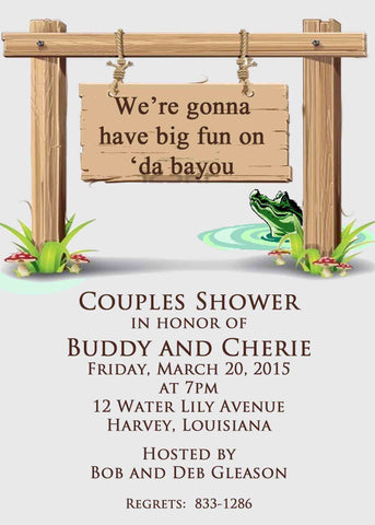 DA BAYOU SIGN CUSTOM INVITATION