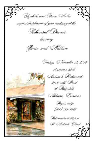 ANDREA'S RESTAURANT CUSTOM INVITATION