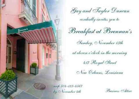 BRENNAN'S RESTAURANT 2 CUSTOM INVITATION