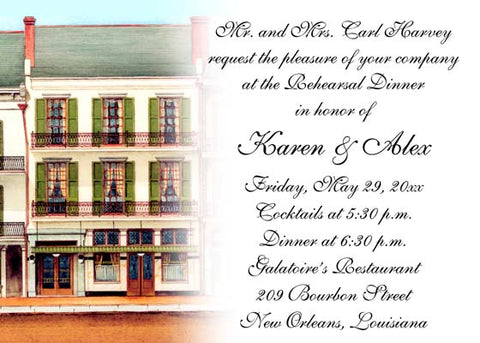 GALATOIRE'S RESTAURANT WITH FADE-OUT CUSTOM INVITATION