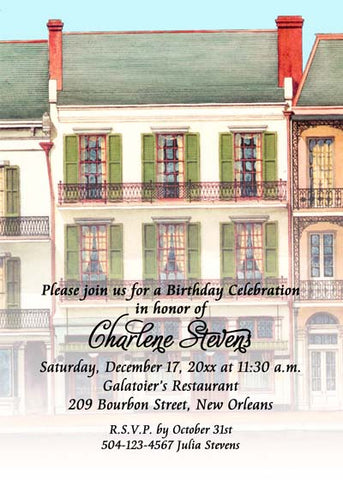 GALATOIRE'S RESTAURANT VERTICAL FADE-OUT CUSTOM INVITATION
