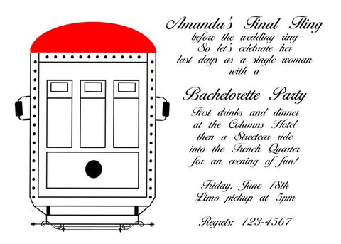RED STREET CAR CUSTOM INVITATION
