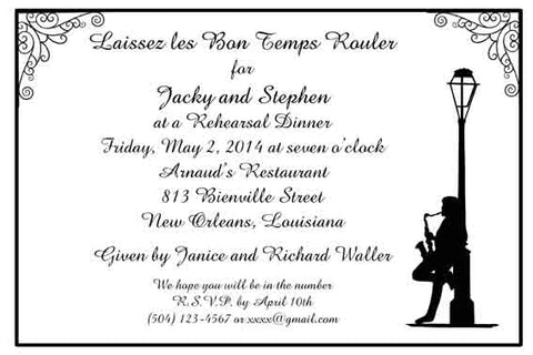 JAZZ MAN AND LAMPPOST CUSTOM INVITATION