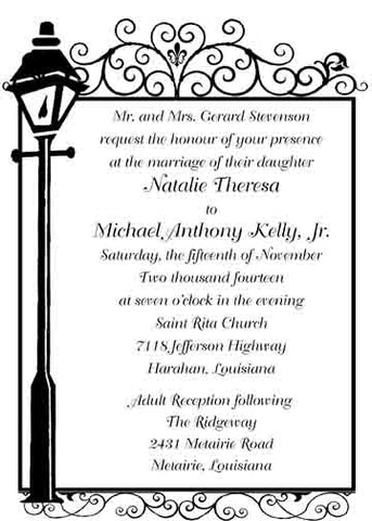 LAMPPOST AND WROUGHT IRON CUSTOM INVITATION