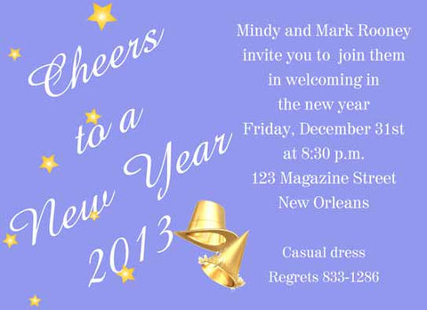 NEW YEARS GOLD HATS AND STARS CUSTOM INVITATION