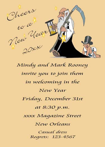OLD MAN AND BABY NEW YEAR CUSTOM INVITATION