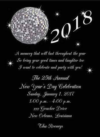 NEW YEAR DISCO BALL CUSTOM INVITATION