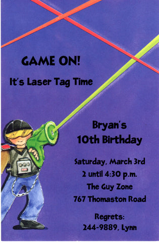 LASER TAG - BLANK STOCK INVITATION