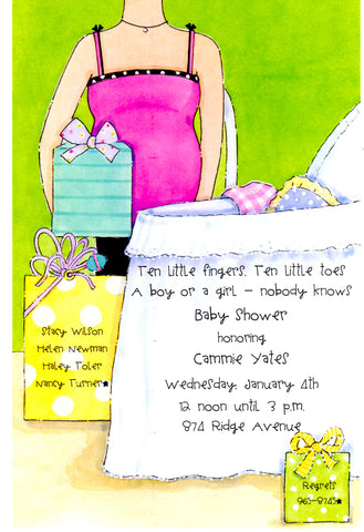 MOMMY-TO-BE BASSINET - BLANK STOCK INVITATION