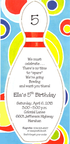 BOWLING PIN - BLANK STOCK INVITATION
