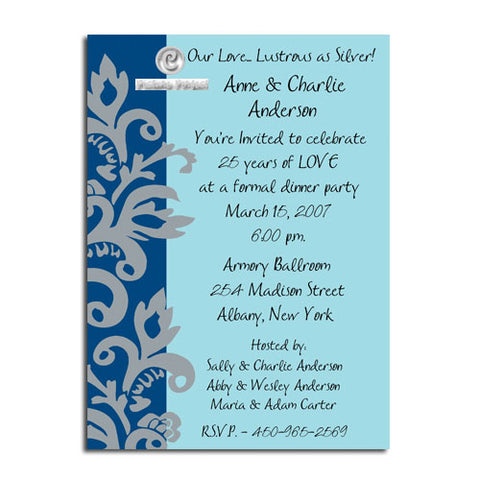 SILVER FLOURISH - BLANK STOCK INVITATION