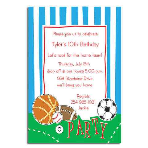 ALL SPORTS PARTY - BLANK STOCK INVITATION