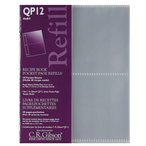 POCKET PAGE REFILL FOR QP12 KITCHEN BINDER