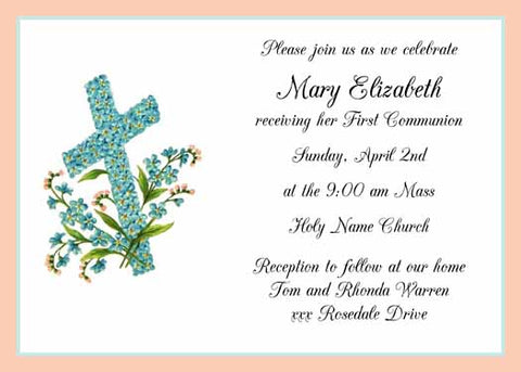 TEAL FLORAL CROSS CUSTOM INVITATION