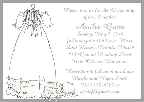 CHRISTENING GOWN WITH BONNET CUSTOM INVITATION