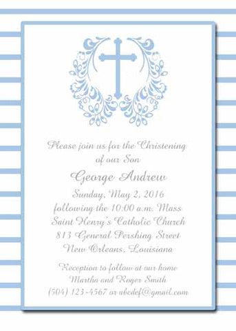 CROSS WITH FILIGREE WREATH CUSTOM INVITATION