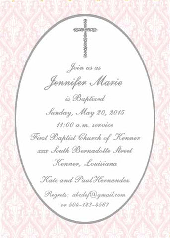 FILIGREE CROSS AND FLORAL QUAD BACKGROUND CUSTOM INVITATION