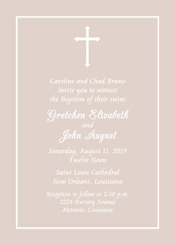 SIMPLE CROSS TAUPE BACKGROUND CUSTOM INVITATION