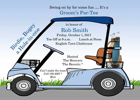 GOLF CART CUSTOM INVITATION