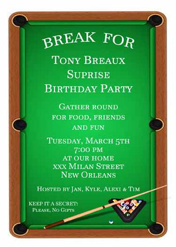 POOL OR BILLIARDS TABLE CUSTOM INVITATION