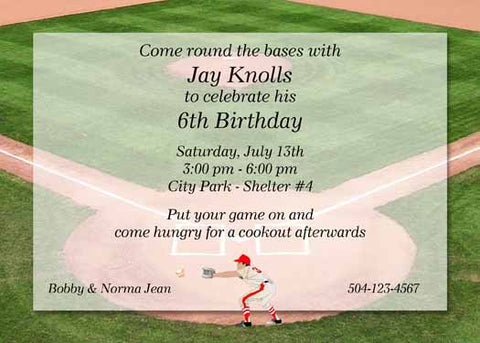 BASEBALL DIAMOND CUSTOM INVITATION