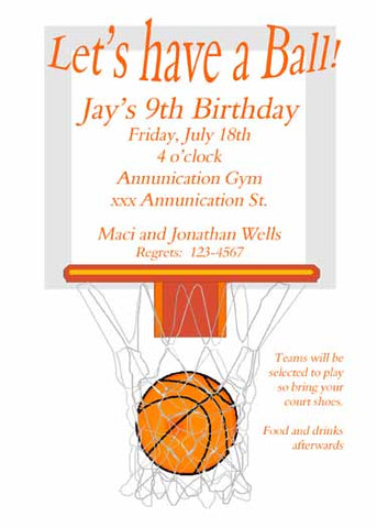 BASKETBALL GOAL CUSTOM INVITATION