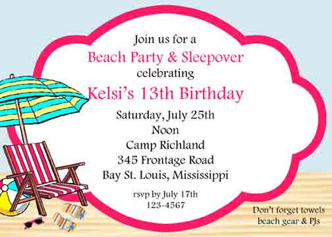 SET UP ON THE BEACH CUSTOM INVITATION