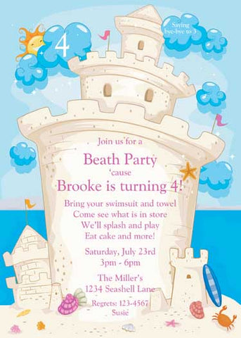 SAND CASTLE CUSTOM INVITATION