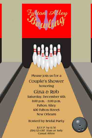BOWLING LANE CUSTOM INVITATION