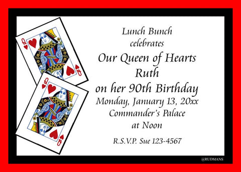 PLAYING CARDS QUEEN OF HEARTS CUSTOM INVITATION