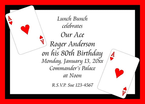 PLAYING CARDS ACE OF HEARTS CUSTOM INVITATION