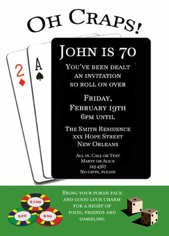 "PLAYING CARDS ""OH CRAPS"" CUSTOM INVITATION"